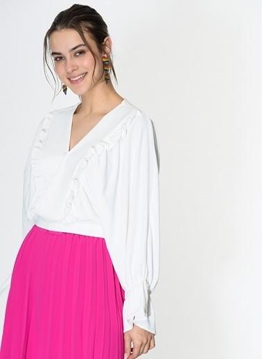 Loves You Yarasa Kol Anvelop Fırfırlı Bluz Beyaz